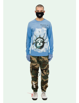 Blue Liberty L/S T Shirt by Off White