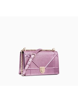 "Diorama Bag In Pink Metallic Calfskin With ""Micro Cannage"" Motif by Dior"
