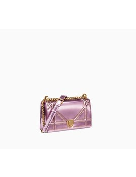 "Small Diorama Bag In Pink Studded Metallic Calfskin With Large ""Cannage"" Motif by Dior"