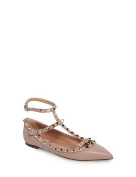 Women's Natural Rockstud Ankle Strap Pointy Toe Flat by Valentino