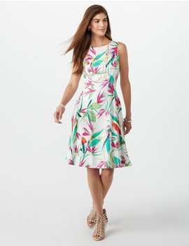 Seamed Leaf Print Dress by Dressbarn