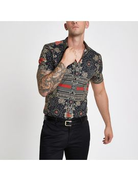 Black Muscle Fit Print Shirt by River Island