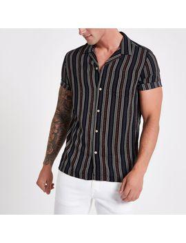 Black Aztec Stripe Print Revere Shirt by River Island
