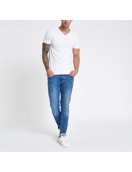 White Rib Muscle Fit V Neck T Shirt by River Island