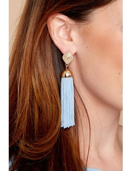 Request More Time Light Blue Tassel Earrings by Joia