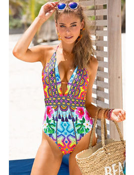 Bright Tassel Print One Piece Swimsuit by Boston Proper