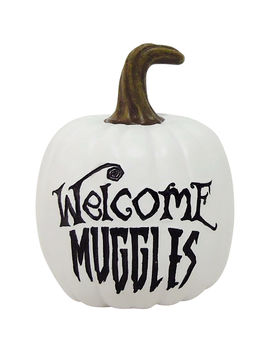 White Pumpkin 'welcome Muggles' 4 In. by At Home