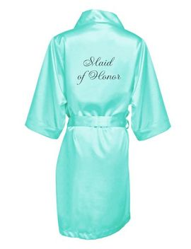 Embroidered Maid Of Honor Satin Robe by