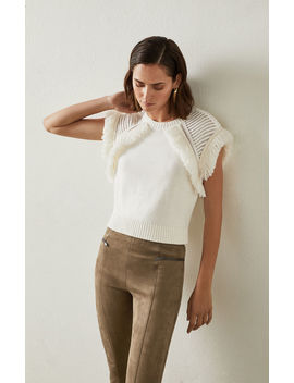 Fringe Trimmed Sweater by Bcbgmaxazria