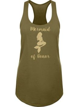 Mermaid Of Honor Gold Glitter Racerback Tank Top by