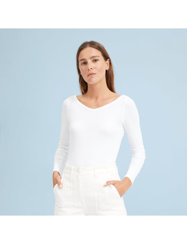The Pima Micro Rib Open V Neck by Everlane
