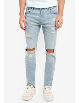 Ext Skinny Super Light Knee Jeans by Hollister