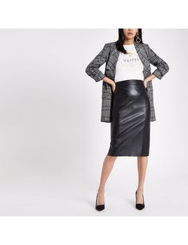 Black Faux Leather Pencil Skirt by River Island