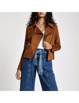 Brown Faux Suede Cropped Trench Jacket by River Island