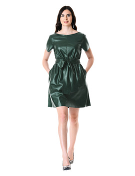 Sash Tie Faux Leather Blouson Dress by Eshakti