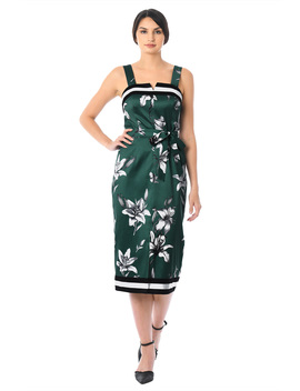 Lily And Stripe Print Dupioni Sheath Dress by Eshakti