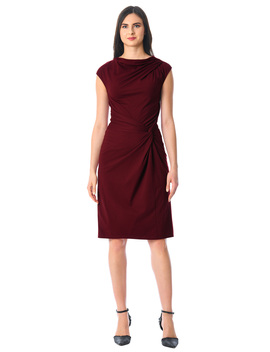 Knot Waist Cotton Knit Sheath Dress by Eshakti
