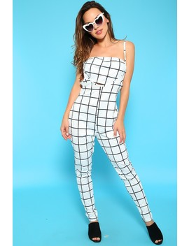 Sexy White Black Sleeveless Fitted Jumpsuit by Ami Clubwear