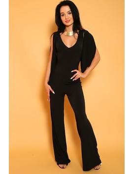 Sexy Black Cape Sleeve Jumpsuit by Ami Clubwear