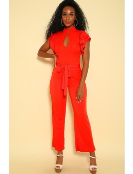 Sexy Red Ruffled Short Sleeve Mock Neck Dressy Jumpsuit by Ami Clubwear