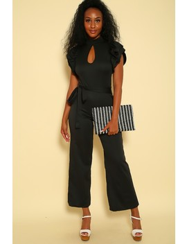 Sexy Black Ruffled Short Sleeve Mock Neck Dressy Jumpsuit by Ami Clubwear