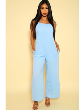 Sexy Light Blue Sleeveless Flared Dressy Jumpsuit by Ami Clubwear