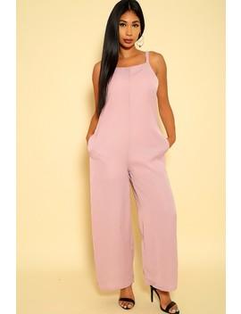 Sexy Dusty Pink Sleeveless Flared Dressy Jumpsuit by Ami Clubwear