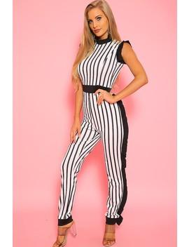 Sexy Black White Stripe Ruffle Sleeveless Dressy Jumpsuit by Ami Clubwear