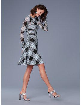 Long Sleeve Ruched Mesh Mini Dress by Dvf
