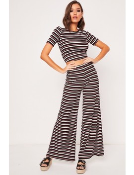 Luella Black & Red Striped Ribbed Flare Trousers by Misspap