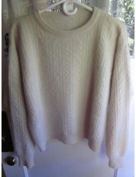 Fuzzy Soft Angora Lambswool Super Cuddly Soft Fuzzy Crewneck Cableknit Sweater M by Unbranded