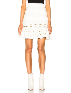 Eyelet Detail Flared Mini Skirt by Alexander Mc Queen