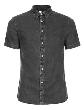 Grey Muscle Fit Short Sleeve Denim Shirt by Topman