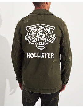 Tiger Graphic Twill Shirt Jacket by Hollister