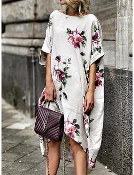 Floral Print Boat Neck Irregular Casual Dress by Ivrose