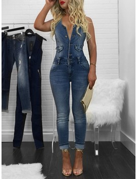 Sexy V Neck Skinny Fitness Denim Overalls by Ivrose