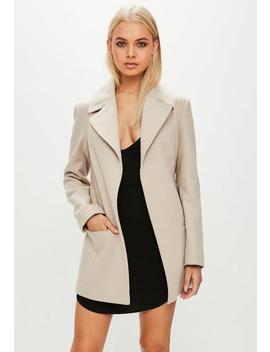 Camel Short Belted Trench Coat by Missguided