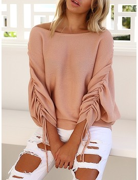 Stylish One Shoulder Ruched Casual Sweater by Ivrose