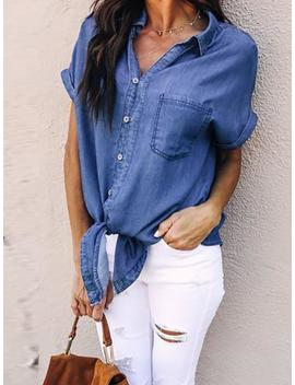 Denim Button Through Knotted Front Blouse by Ivrose