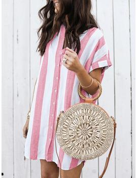 Contrast Stripes Button Through Casual Dress by Ivrose