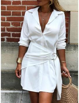 Solid O Ring Belted Irregular Shirt Dress by Ivrose