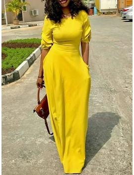 Fashion Solid Half Sleeve Maxi Dress by Ivrose