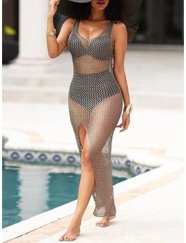 Seductive Transparent Mesh High Slit Maxi Dress by Ivrose