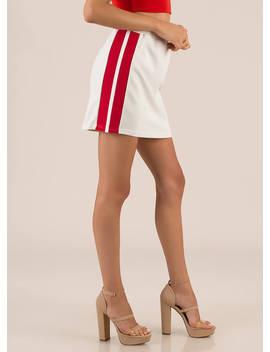 Flight School Striped Miniskirt by Go Jane