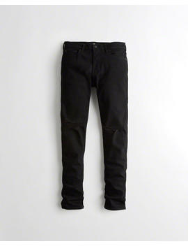 Advanced Stretch Stacked Skinny No Fade Jeans by Hollister