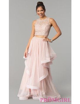 Long Two Piece Lace Bodice Rose Pink Prom Dress by Promgirl