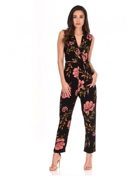 Black V Neck Floral Print Jumpsuit by Ax Paris