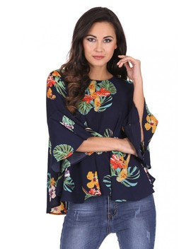 Navy Floral Flared Sleeve Top by Ax Paris