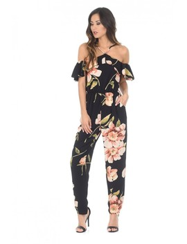 Black Cold Shoulder Floral Jumpsuit by Ax Paris