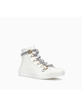 High Top Trainer In White Canvas by Dior